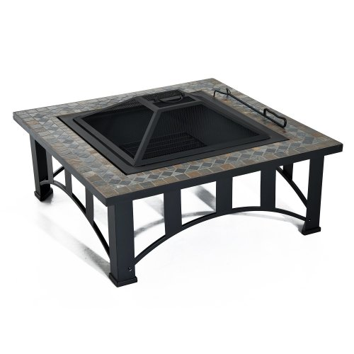 Outsunny Mosaic Garden Fire Pit | Square Fire Pit