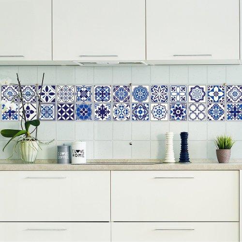 Walplus Tile Sticker Spanish and Moroccan Blue Wall Sticker Decal (Size: 10m x 10cm @ 24pcs)