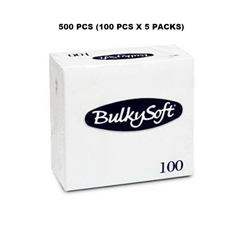 500 PCS BULKY SOFT WHITE TISSUES 2 PLY PAPER NAPKINS 33CM RESTAURANT CATERING