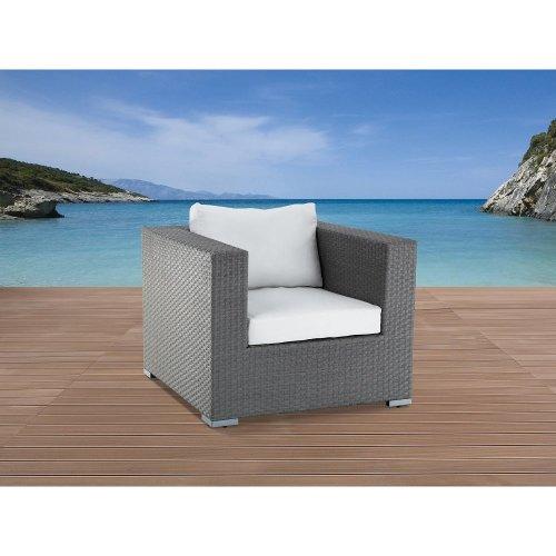Rattan Garden Furniture single Chair with Cushions - MAESTRO grey