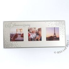 60th Anniversary Celebrations Sparkle Triple Photo Frame WG83560