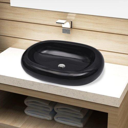 Ceramic Bathroom Sink Basin Black Oval