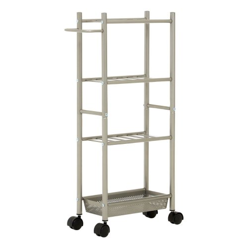 4 Tier Kitchen Trolley With Perforated Basket Brushed Nickel Finish
