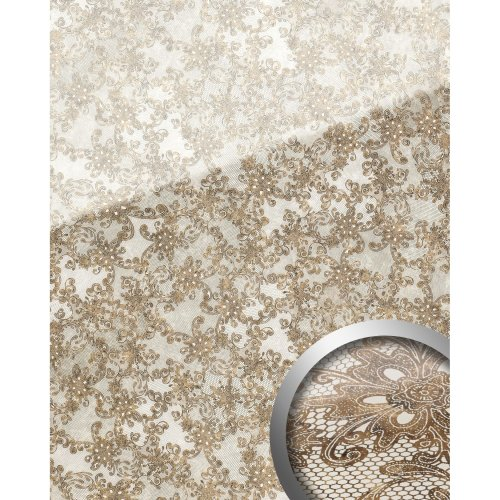 WallFace 17950 LACE Wallpanel selfadhesive Glass french lace white brown 2.6 sqm