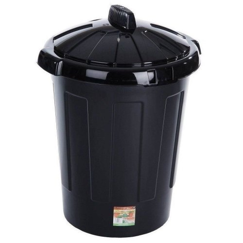 80L Plastic Black Recycle Bin Animal Feed Storage Basket Rubbish Disposable Can With Lid