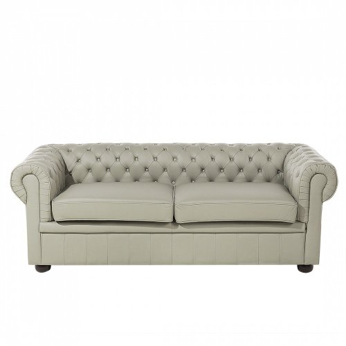 2 Seater Cappuccino Leather Sofa CHESTERFIELD