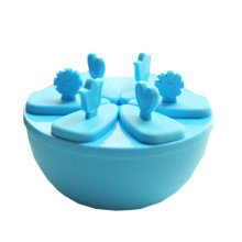 """Creative Top Quality Ice Cube Molds No Spill Round DIY Tray 5.5"""" Blue"""