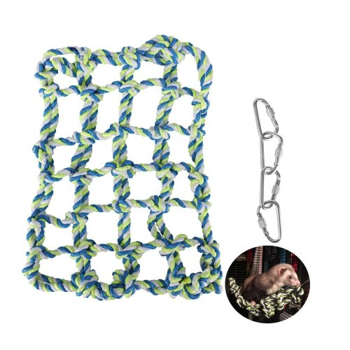 Hamster Climbling Cotton Rope Nets,niCWhite Rat&Ferret Hanging Hammock for Cage,Small Animal Activity Toy for Rats,Chinchillas,Ferrets,Degus,with 4...