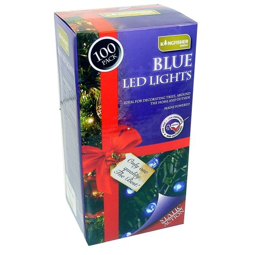 100 Outdoor Static LED Christmas Lights in Blue