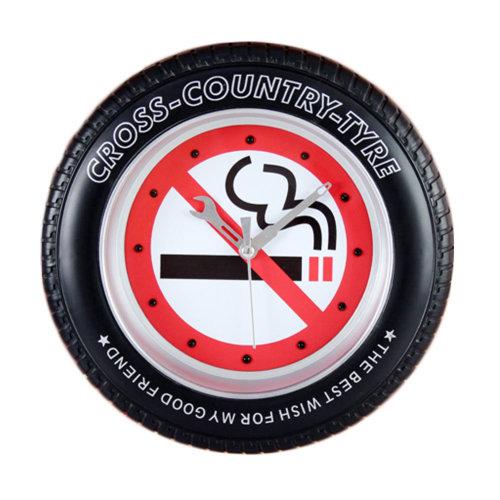 No Smoking Tire Shape Wall Clock Fashion Look Home Decoration(8'')