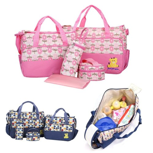 5pcs Multifunctional Baby Changing Diaper Nappy Bag Mummy Mother Handbag Bags