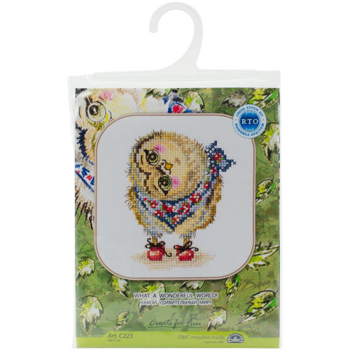 """What A Wonderful World! Counted Cross Stitch Kit-4""""X6"""" 14 Count"""