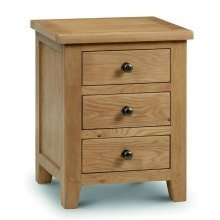 Rachel Bedside Drawers - Oak - 3 Drawer Fully Assembled Solid Oak and Veneers