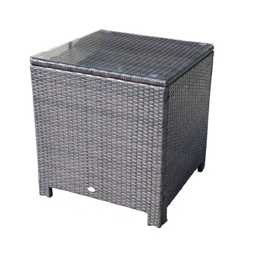 Outsunny Side Table Furniture Tempered Glass Garden Patio Wicker Brown