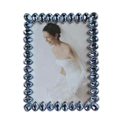 6-inch Photo Frame Drop Shape Metal Photoframe and Home Decoration, Blue