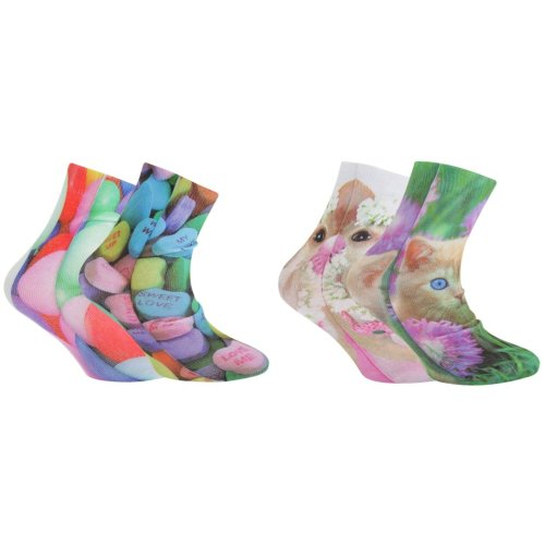 Childrens Girls Patterned Digital Photo Print Socks (2 Pairs)