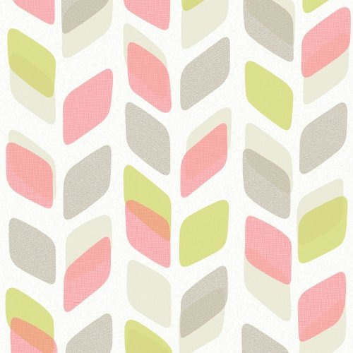NEW GALERIE UNPLUGGED ABSTRACT LEAF PATTERN RETRO GEOMETRIC VINYL WALLPAPER ROLL[PINK GREEN UN3005]