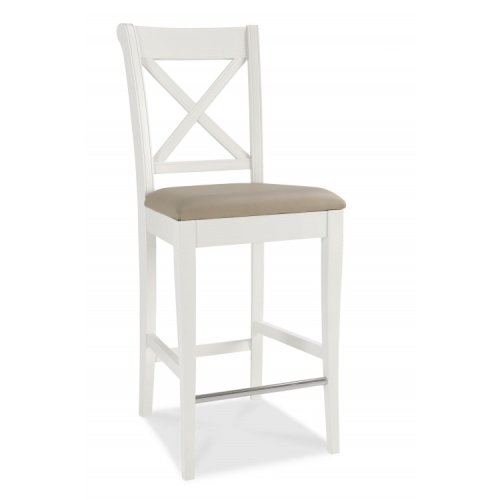 Hampstead Two Tone Painted Furniture Ivory Leather Bar Stool Pair