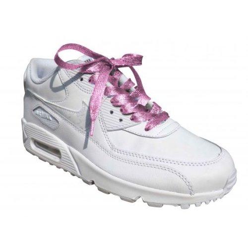 Pink Glitter Metallic Sparkly Flat Shoelaces