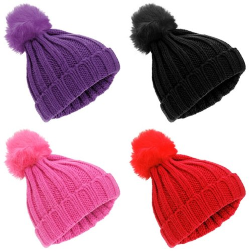 Childrens Girls Rockjock Cable Knit Faux Fur Pom Pom Winter Beanie Hat