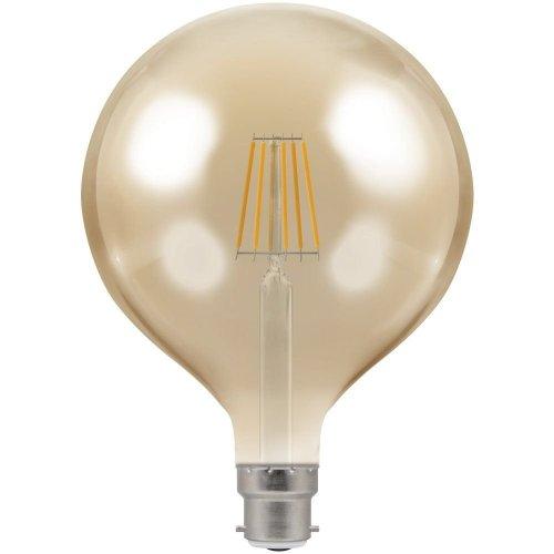 Crompton 7.5W LED Filament G125 Antique Bronze Globe 2200K B22d Dimmable