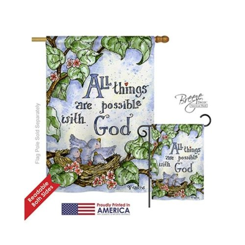 Breeze Decor 15110 All Things Are Possible with God 2-Sided Vertical Impression House Flag - 28 x 40 in.