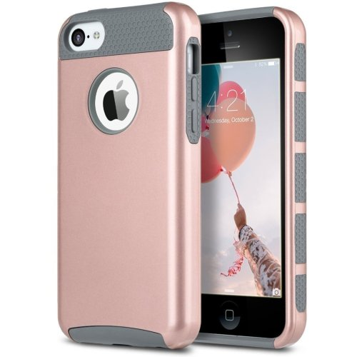 promo code a6ac2 a667d ULAK iPhone 5c Case, iPhone 5c Case Hybrid Shockproof Hard PC + Soft  Silicone Protective Case Cover For Apple iPhone 5c (Rose Gold + Grey)