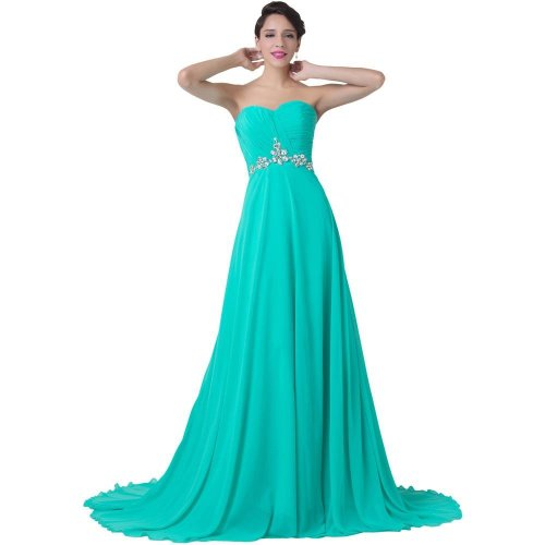 Turquoise Evening Dress Strapless Long Chiffon Floor Length Formal Gown Wedding Party Beading Elegant Evening Gowns