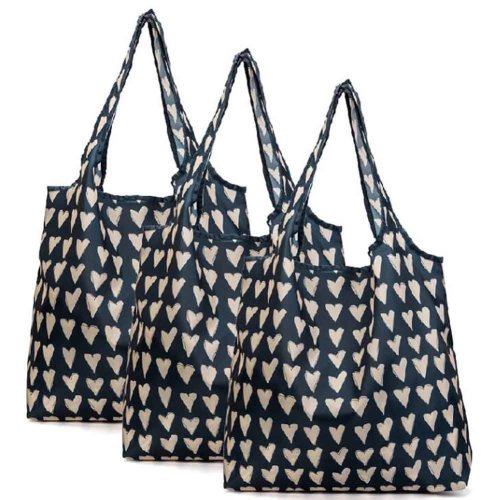 Hearts - 3 Pieces Reusable Grocery Bags Foldable Boutique Shopping Bags Portable Merchandise Tote Bags Gift Bags