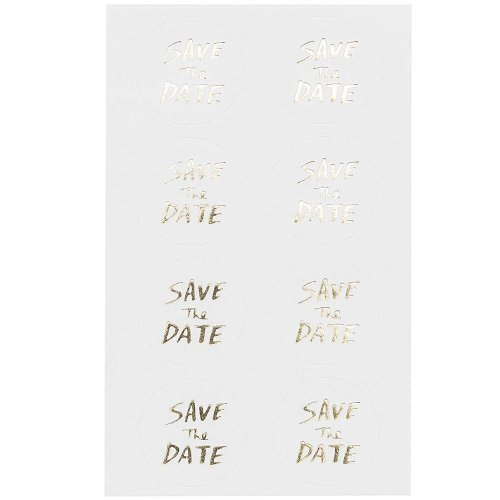 Save the Date White and Gold Stickers x 32 Craft Wedding Party