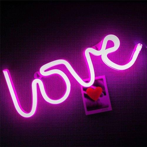 Romantic LOVE Shape Pink LED Neon Light Home Bedroom Decoration Light