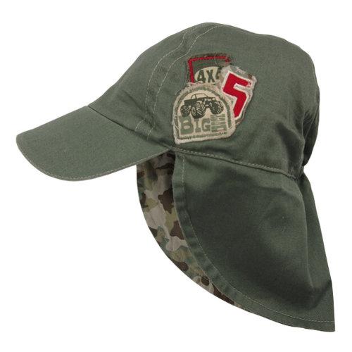 Unisex Kids Sunbonnet, Lightweight Cap Sunhat Neck Protection Cotton Army Green