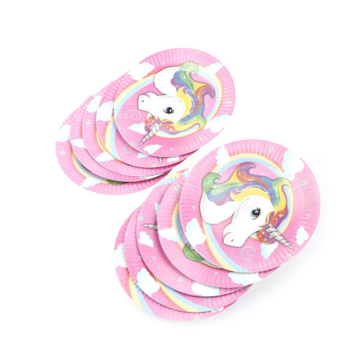 TRIXES Multicoloured 10PC Pack Unicorn Party Paper Plates for Kids Birthday Parties