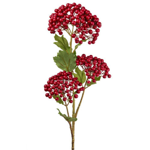 Artificial Red Viburnum Berry Spray - 66cm - Faux Flowers