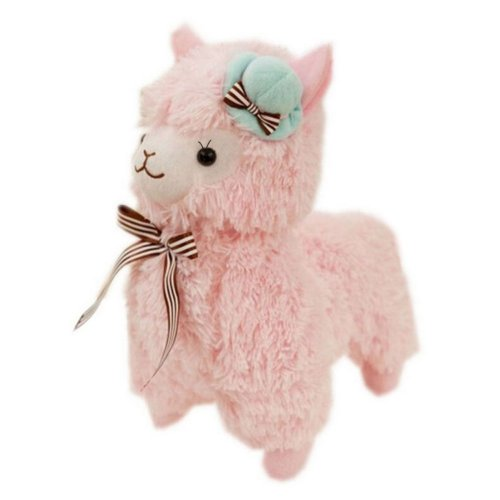 Large Pink Alpaca in Pillbox Hat Stuffed Lamb 47CM