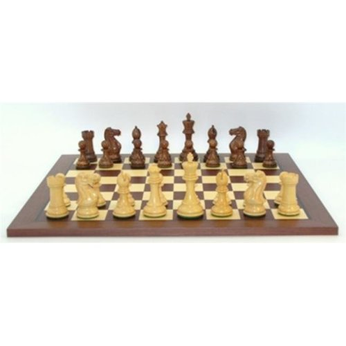 WW Chess 40KE-DR 2.2 in. sq. 3 oz Kikkerwood & Boxwood Exclusive Triple Weighted Beveled Base King Dark Rosewood, Maple Inlaid Veneer Board
