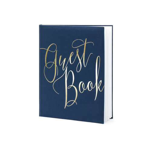 Wedding Guest Book Navy Blue and Gold 20 x 24.5cm with 22 pages