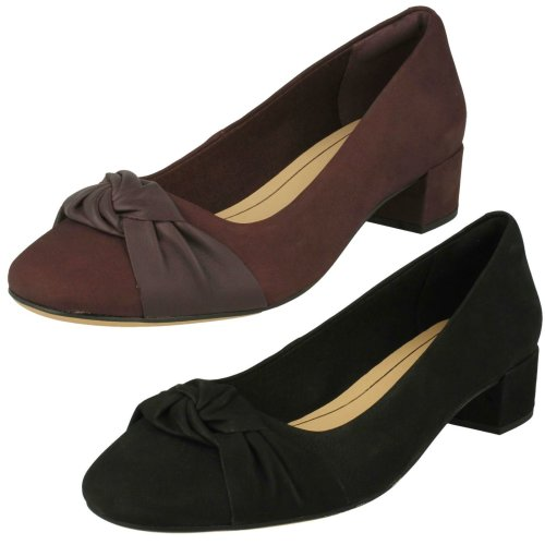 Ladies Clarks Bow Detailed Block Heel Shoes Orabella Lily - D Fit