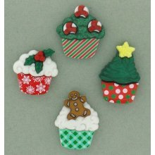 Christmas Cupcakes - Novelty Craft Buttons & Embellishments by Dress It Up