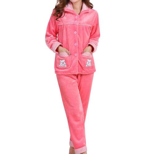 Casual Pajama Set Warm Sleepwear Home Apparel Flannel Pajamas X-large-A1