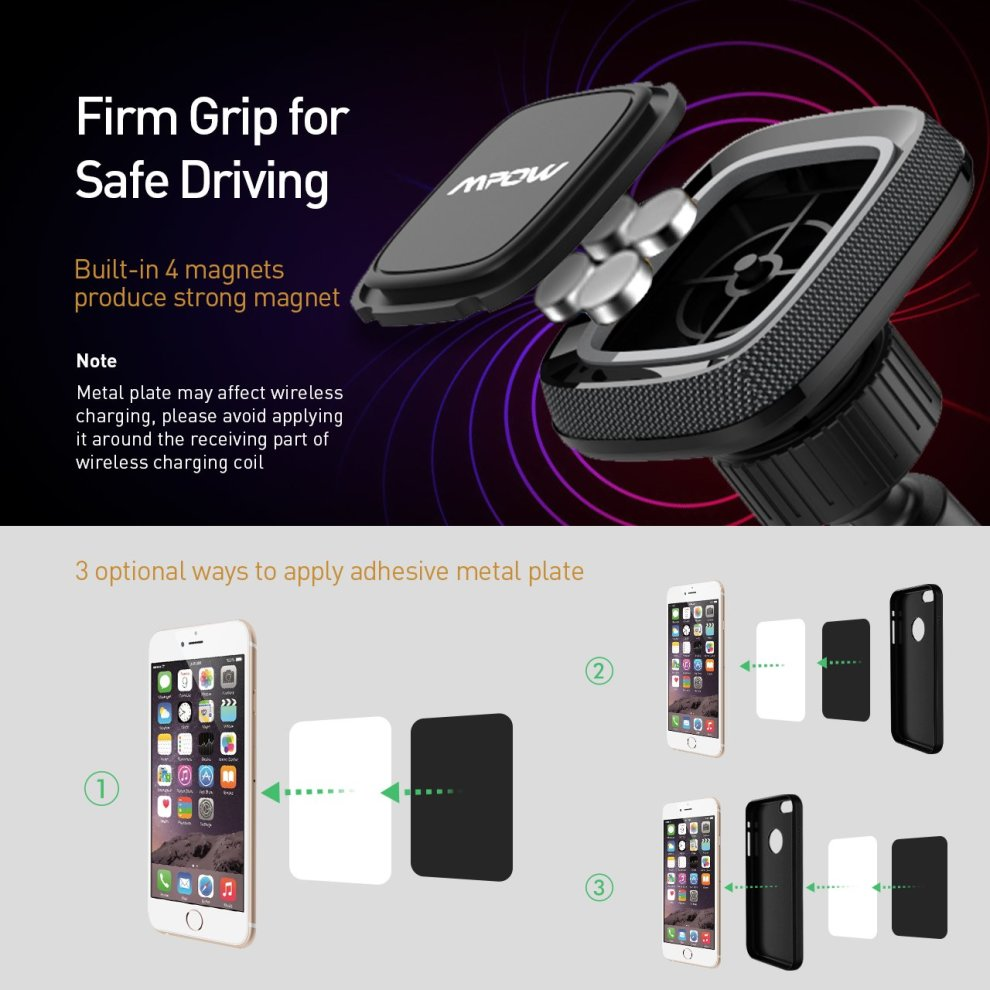 Car Phone Mount, Mpow Magnetic Windscreen Cars Holder Dashboard Phone  Holder for Car Universal Mobile Car Cradle for iPhone X/10 8 7 7 Plus 6  6s