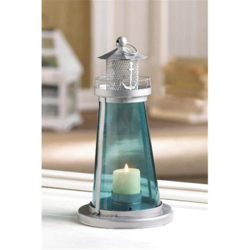 Zingz & Thingz 57071045 Blue Glass Lighthouse Lantern
