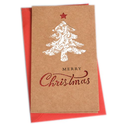 Christmas Cards Greeting Cards Christmas Gift Xmas Cards (4 Cards and Envelopes), Brown # 18