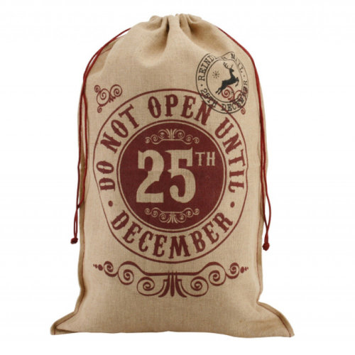 Do Not Open Until 25th December - Natural Hessican Gift Sack Presents