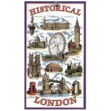 Historical London Tea Towel Souvenir Gift Big Ben Telephone Box Nelson Blue UK