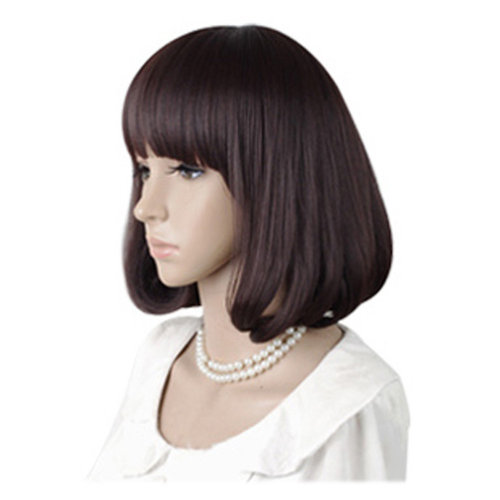 High Quality Fashion Sweet Lady Wig Short Hair Natural Bob Chestnut+Wig Cap+Comb
