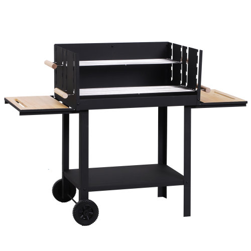 Outsunny Trolley Charcoal BBQ Barbecue Grill Patio Outdoor Garden Heating Heat Smoker 2 Grill Net