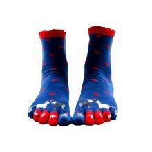 Cute Cartoon Tube Toe Scoks Blue Soft Cotton Socks